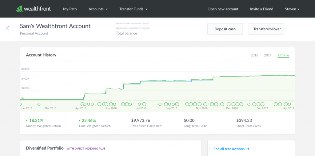 Sam personal Wealthfront Account